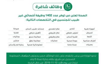 وزارة الصحة تعلن عن توفر وظائف شاغرة للرجال والنساء