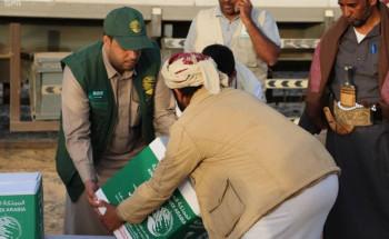 مركز الملك سلمان للإغاثة يوزع 1,000 سلة غذائية للنازحين من صنعاء إلى محافظة مأرب