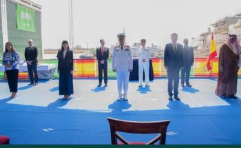 """شاهد … بالفيديو …قائد القوات البحرية الملكية السعودية يرعى مراسم تعويم سفينة جلالة الملك """"جازان"""" بمملكة إسبانيا"""